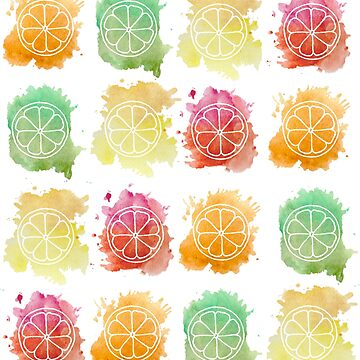 Watercolor Citrus Fruits by feeble-platypus