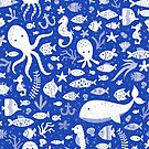Underwater Sea Life Pattern in Cobalt Blue by latheandquill