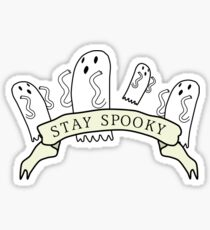 'Stay Spooky' ghost banner black design  Sticker