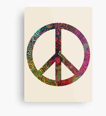 FLOWER POWER PEACE SYMBOL Metal Print