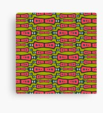 Red, Teal, White on Green Tribal Pattern Canvas Print