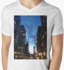 New York, Manhattan, Brooklyn, New York City, architecture, street, building, tree, car, pedestrians, day, night, nightlight, house, condominium,  Men's V-Neck T-Shirt