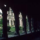 Walking in the cloisters C13 Beauvais Cathedral France 19840827 0043  by Fred Mitchell