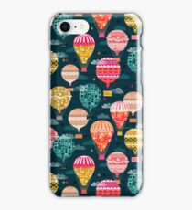 Hot Air Balloons - Retro, Vintage-inspired Print and Pattern by Andrea Lauren iPhone Case/Skin