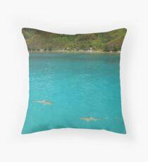 Multiple Black Tip Reef Sharks, Moorea Throw Pillow