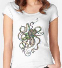 Octopsychedelia Tailliertes Rundhals-Shirt
