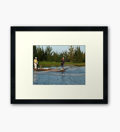 Net fishing in Hoi An, Central Vietnam Framed Print