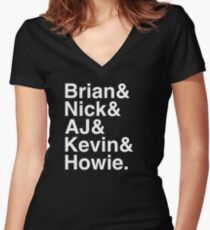 Backstreet Boys Names Helvetica Ampersand  Women's Fitted V-Neck T-Shirt