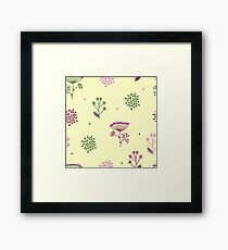 Elegance Seamless pattern with flowers, vector floral illustration in vintage style, Ukraine, dill Framed Print