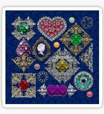 Gorgeous Victorian Jewelry Brooch Gemstone Collage Sticker