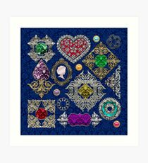 Gorgeous Victorian Jewelry Brooch Gemstone Collage Art Print