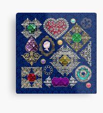 Gorgeous Victorian Jewelry Brooch Gemstone Collage Metal Print