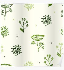 Elegance Seamless pattern with flowers, vector floral illustration in vintage style, Ukraine, dill Poster