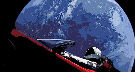 Don't Panic SpaceX Tesla Roadster.  by Grundelboy