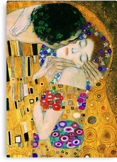 The Kiss By Gustav Klimt Canvas Print By Vintagearchive Redbubble