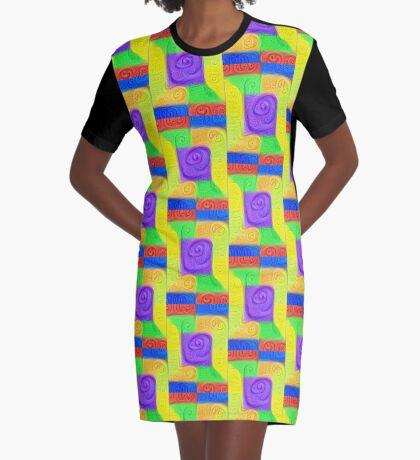 DeepDream Color Squares Visual Areas 5x5K v11 Graphic T-Shirt Dress