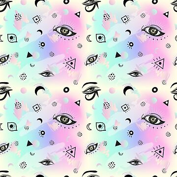 Seamless boho pattern with eyes. Minimalism and 80s style. Memphis background. Pastel goth motifs. by MilaOkie