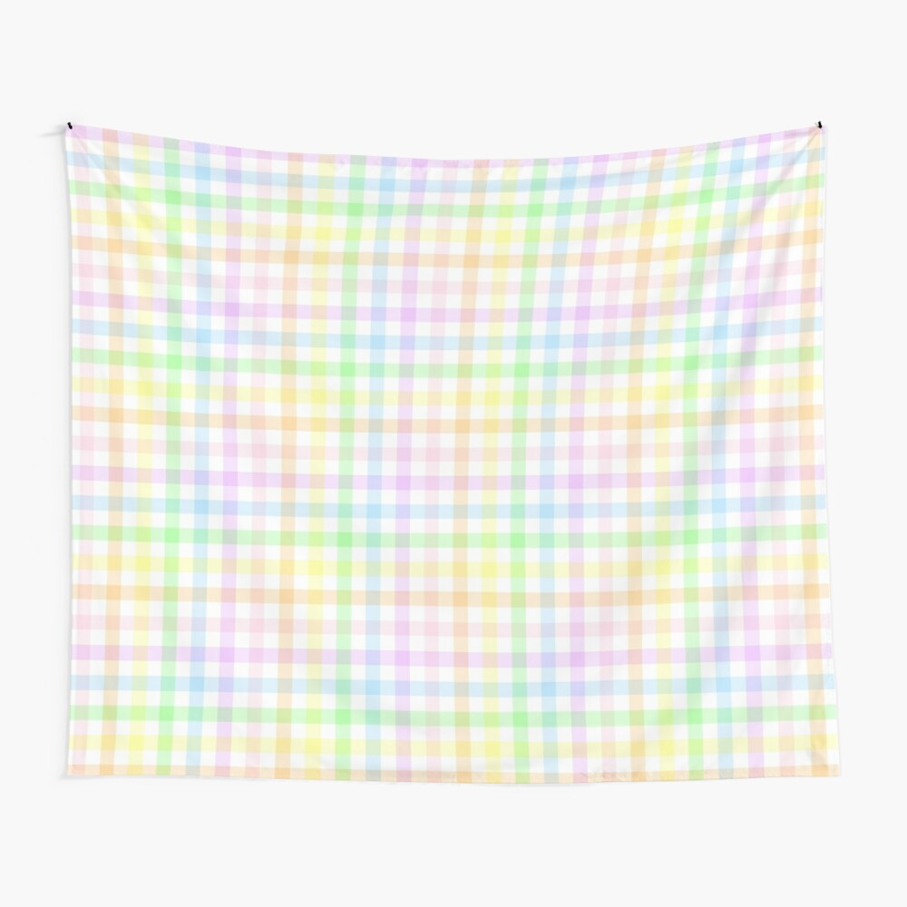 Rainbow Gingham Wall Tapestry