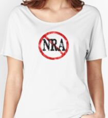 Anti NRA Badge Gun Control Vintage Retro Style Political Gear Women's Relaxed Fit T-Shirt