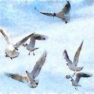 Gulls In Flight Watercolor by taiche
