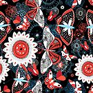 Seamless summer pattern with butterflies and flowers by Tanor