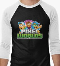 Pixel Worlds Logo with Characters Men's Baseball ¾ T-Shirt