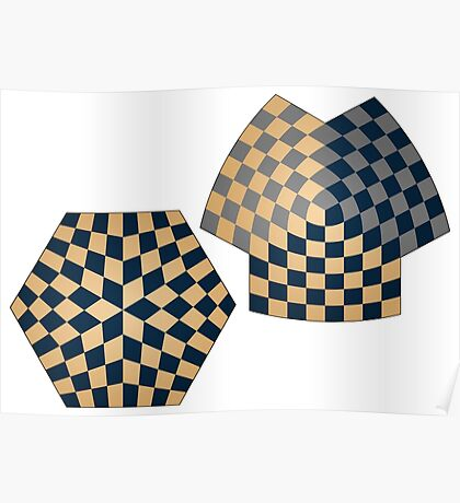 Spherical and Hyperbolic Three Player Chess Boards Poster