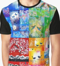 Rainbow Designs with Birds Graphic T-Shirt