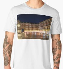 Brightly Lit Midnight - Plaza Mayor in Madrid Spain Men's Premium T-Shirt