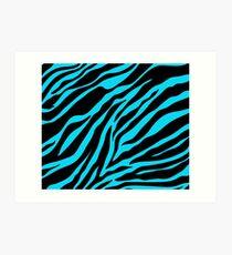Zebra-Muster (blau) Kunstdruck