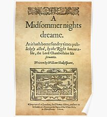 Shakespeare, A midsummer night's dream 1600 Póster