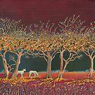 Border Hedge (acrylic on canvas) by Lynne Henderson