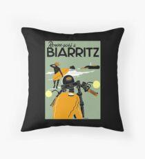 """BIARRITZ"" Vintage Travel Advertising Print Throw Pillow"