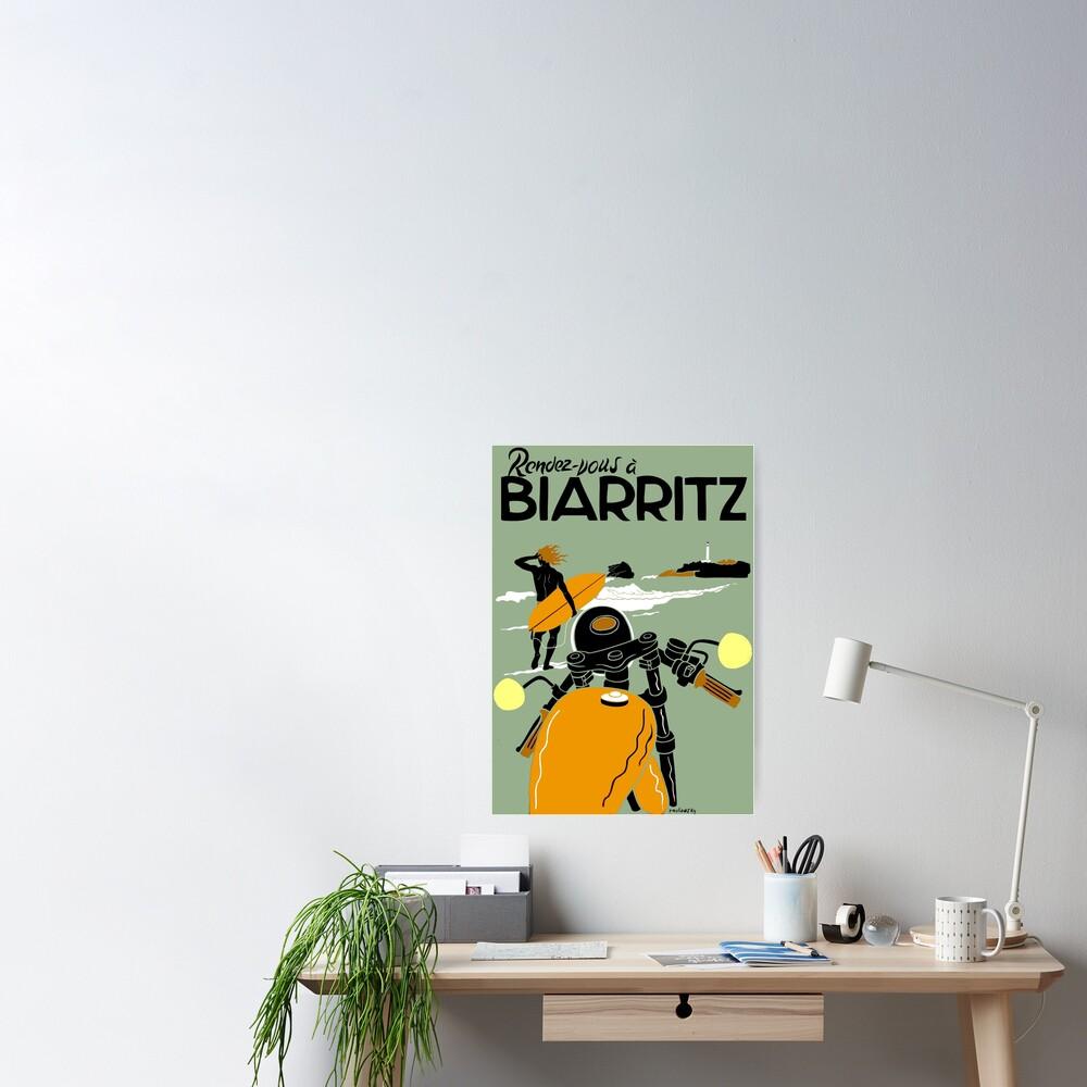 """""""BIARRITZ"""" Vintage Travel Advertising Print Poster"""