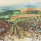 Winter Hedgerow (watercolour on paper) by Lynne Henderson