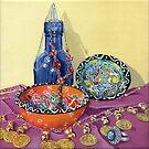 Turkish still life (acrylic on canvas) by Lynne Henderson
