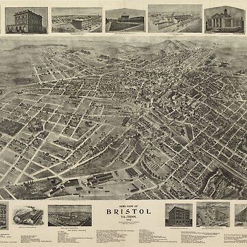 Vintage Pictorial Map of Bristol Virginia (1912) by BravuraMedia