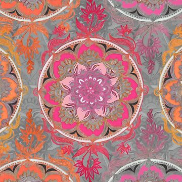 Hot Pink, Magenta and Orange Super Boho Medallions by micklyn