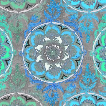 Mint Green, Blue & Aqua Super Boho Medallions by micklyn