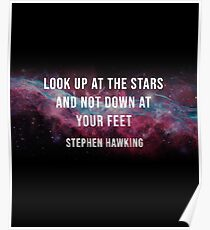 Stephen Hawking 'Look Up At The Stars' Space Graphic and Quote Poster