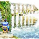Fisherman With Roman Viaduct by Giuseppe Cocco