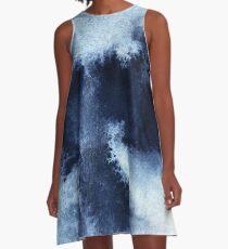 Indigo Nebula, Blue Abstract Painting A-Line Dress