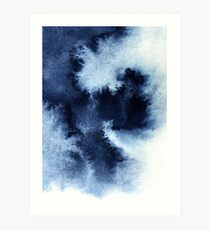 Indigo Nebula, Blue Abstract Painting Art Print