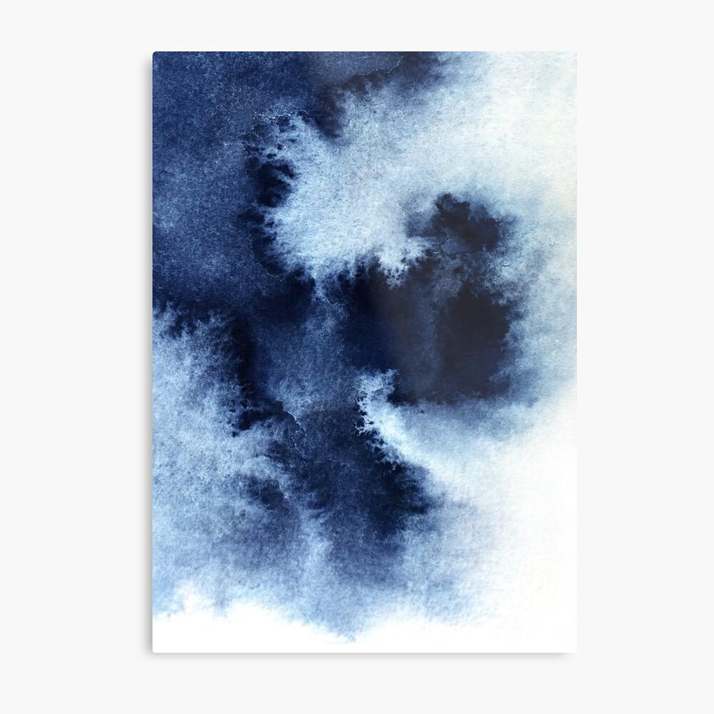 Indigo Nebula, Blue Abstract Painting Metal Print