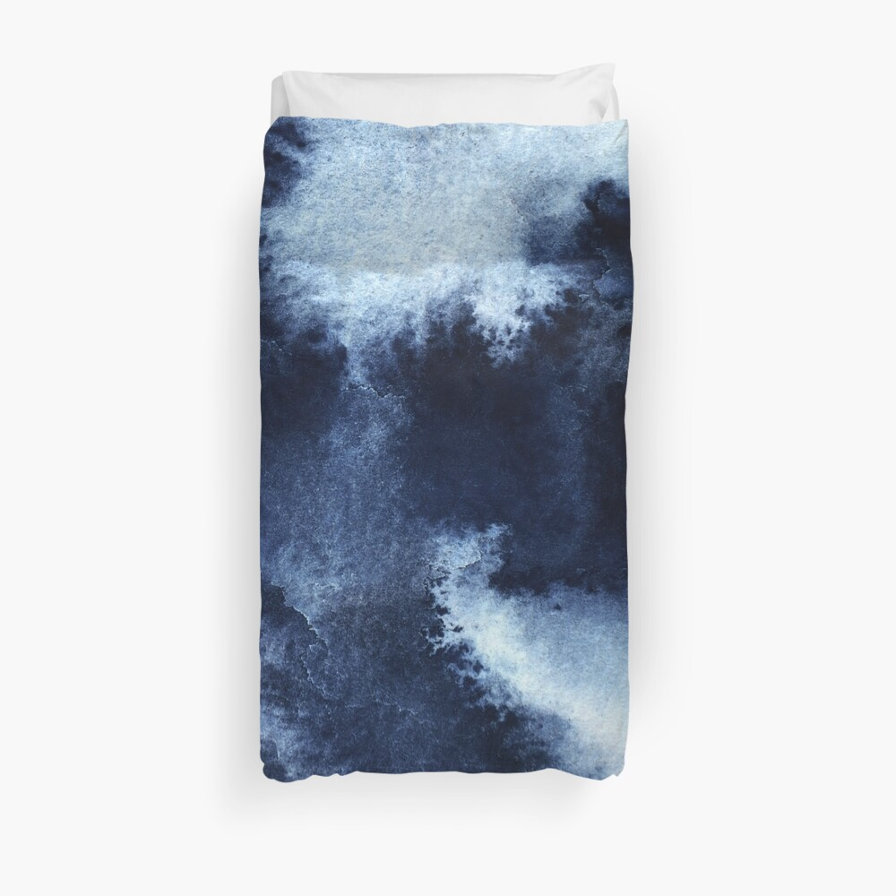 Indigo Nebula, Blue Abstract Painting Duvet Cover