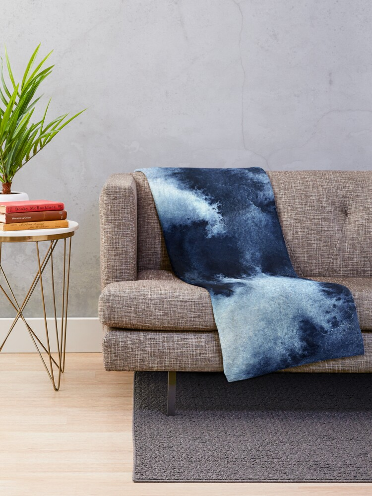 Alternate view of Indigo Nebula, Blue Abstract Painting Throw Blanket