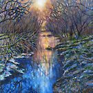 Welsh stream reflections paining by Marion Yeo