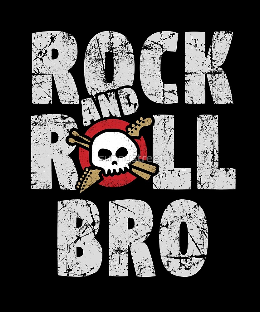 Rock and Roll Brother Skull and Guitar Logo by SunnyStreet