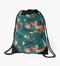 Orange Blossoms Drawstring Bag