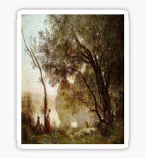 Souvenir de Mortefontaine-Jean-Baptiste-Camille Corot Sticker